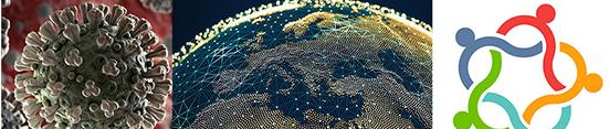 coronavirus orb, earth, interlocking lines