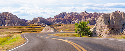 road winding through Badlands National Park